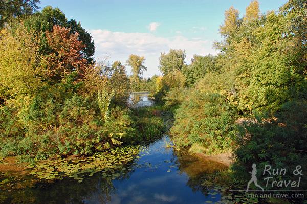 Речка Бобровня разделяет острова Труханов и Муромец