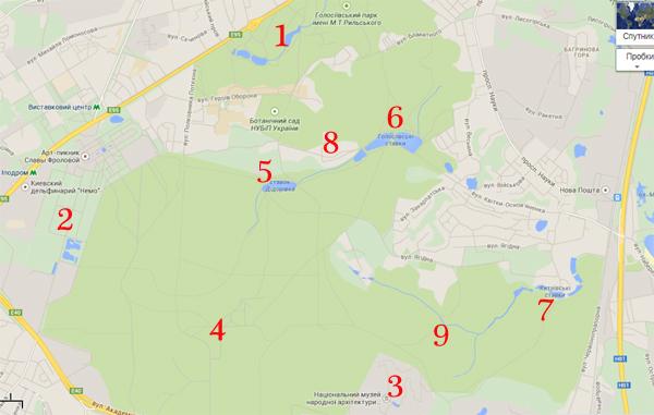 Карта Голосеевского леса
