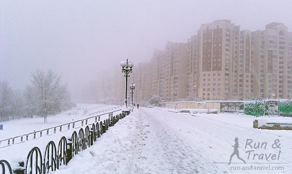 Оболонская набережная зимой