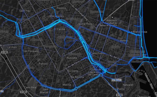Карта из Strava Heatmap