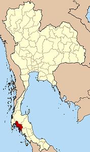 Провинция Краби на карте Таиланда обозначена красным