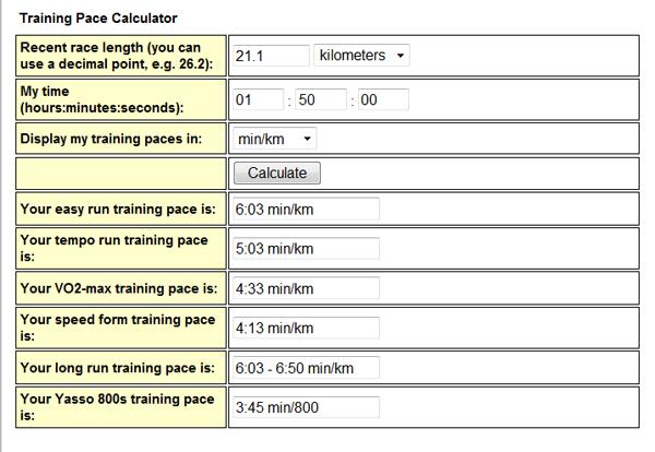 Расчет тренировочных темпов