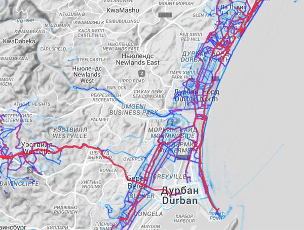 Беговые маршруты Дурбана на Strava Global Heatmap