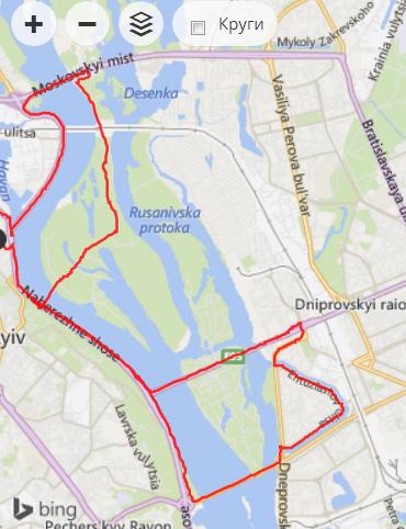 25 км с видами на Днепр