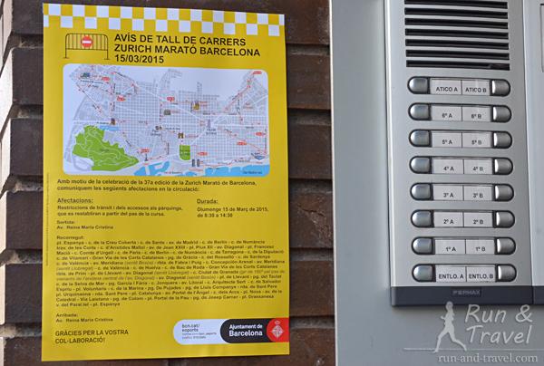 На окрестных домах висели листовки, предупреждающие о перекрытии движения по маршруту марафона
