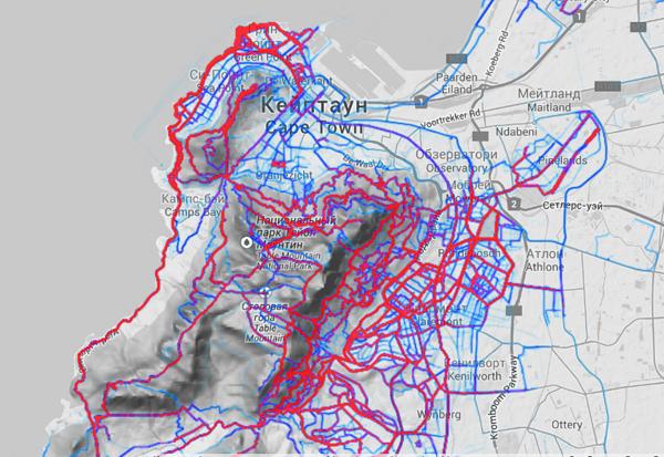 Кейп Таун беговой на карте Strava Heatmap