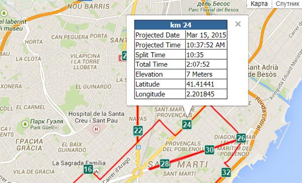 На карте можно посмотреть данные для каждого километра дистанции
