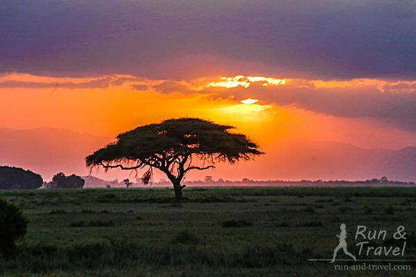 Закат в нацпарке Амбосели