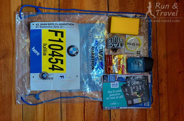 Содержимое стартового пакета: номер, чип, конфетки PowerBar, гель для душа, губка, браслет для гравировки финишного времени (бесплатно), брошюры для участников, пакет и номер для сдачи вещей на хранение, рекламная макулатура