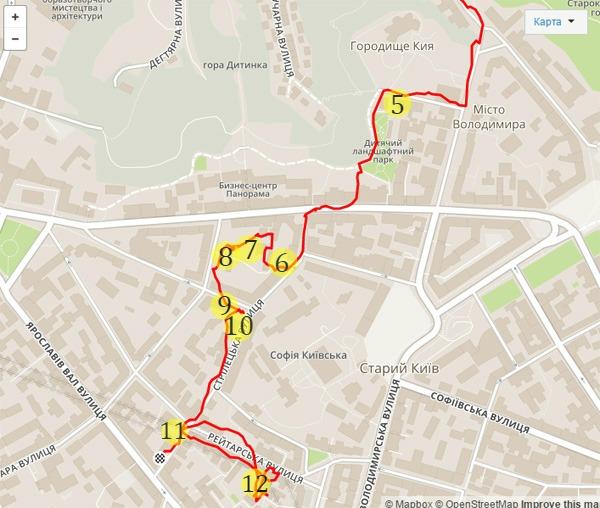 Схема маршрута с муралами Верхнего города