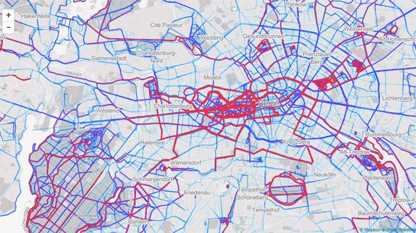 Берлинские беговые маршруты на Strava Heatmap