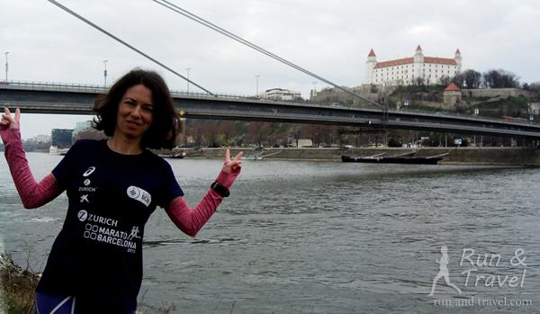 Кусок того самого моста и вид на Братиславский Град