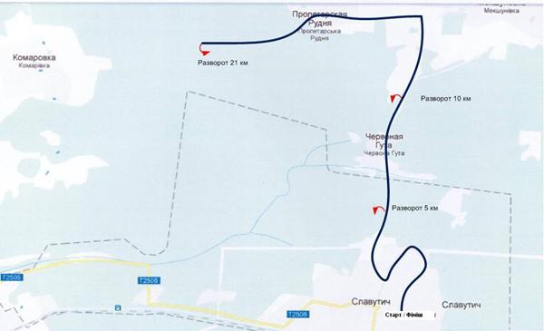 Маршрут полумарафона, забегов на 10 км и 5 км в Славутиче