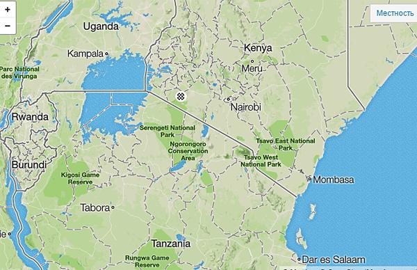 Место проведения Masai Mara Marathon на карте региона