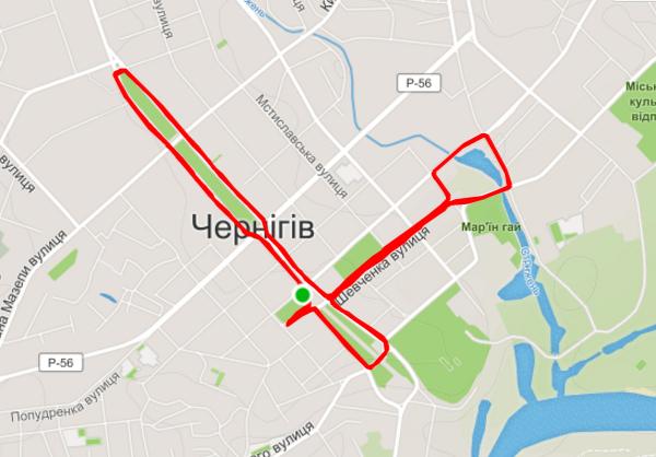 Маршрут полумарафона в Чернигове